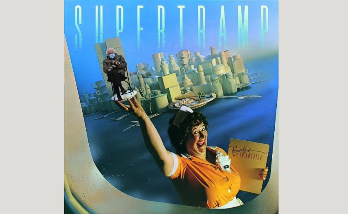 My own contribution to the #BerniesMittens frenzy.  #Supertramp #BreakfastInAmerica #WeekendAtBernies #BernieMemes #BernieSandersMittens #BernieSanders #saturdayvibes #SaturdayMorning #SaturdayVibes #SaturdayThoughts