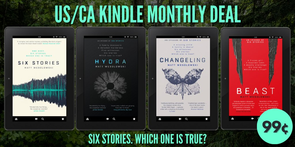 IMMENSE DEAL ALERT #USA 🇺🇸 #Canada 🇨🇦  FIRST 4 books in CHILLING, BESTSELLING #SixStories series by the award-winning @ConcreteKraken  Just #99c   #SixStories  #Hydra  #Changeling  #Beast