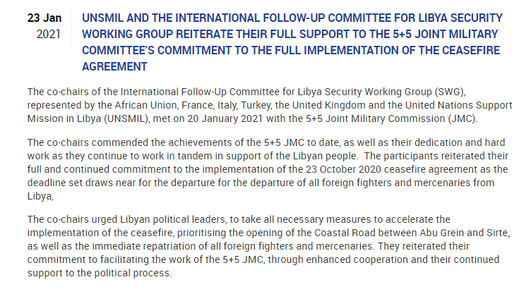 UNSMIL and the International Follow-up Committee for Libya Security Working Group reiterate their full support to the 5+5 Joint Military Committee's commitment to the full implementation of the ceasefire agreement. https://t.co/CwESTZe7L7 https://t.co/ErwJ0ff3r4