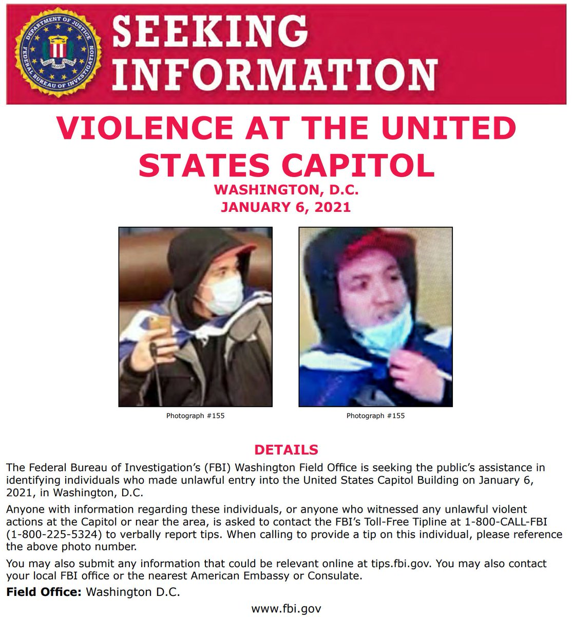 NEW: #FBIWFO is seeking the public's assistance in identifying individuals who made unlawful entry into the US Capitol on January 6th. If you have info, call 1800CALLFBI or submit to tips.fbi.gov. fbi.gov/wanted/seeking…