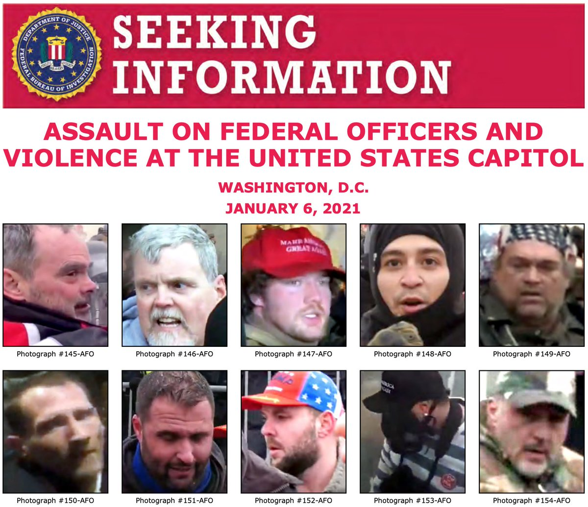 Help the #FBI identify individuals who unlawfully entered the U.S. Capitol on January 6 and assaulted federal law enforcement personnel. If you see someone you know, call 1-800-CALL-FBI (225-5324) or visit  to submit a tip. @FBIWFO