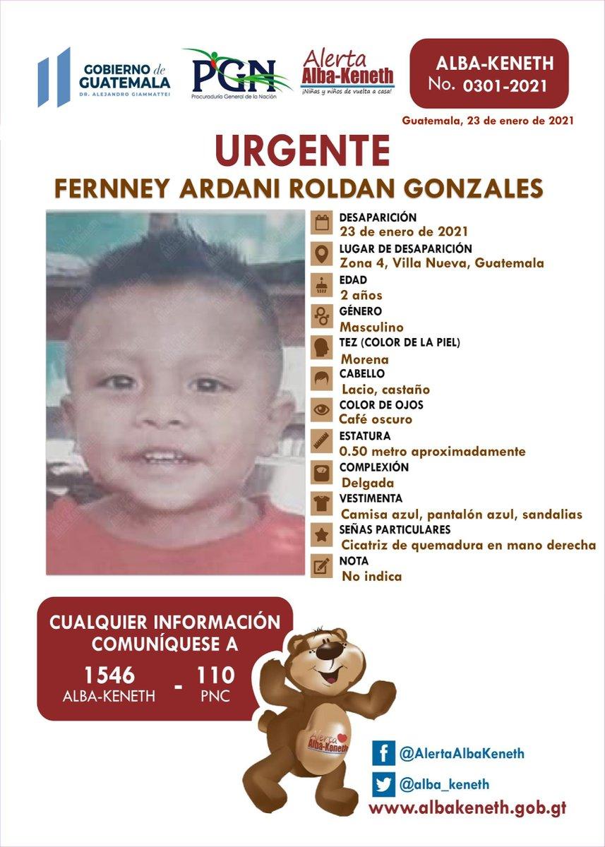 #AlertaAlbaKeneth ⚠ | FERNNEY ARDANI ROLDAN GONZALES, de 02 años de edad. Desapareció el 23 de Enero de 2021, en Finca el Zarzal, zona 04, Villa Nueva, Guatemala.  🔄Comparte y ayúdanos con su localización 📞Si tienes información llama al 1546