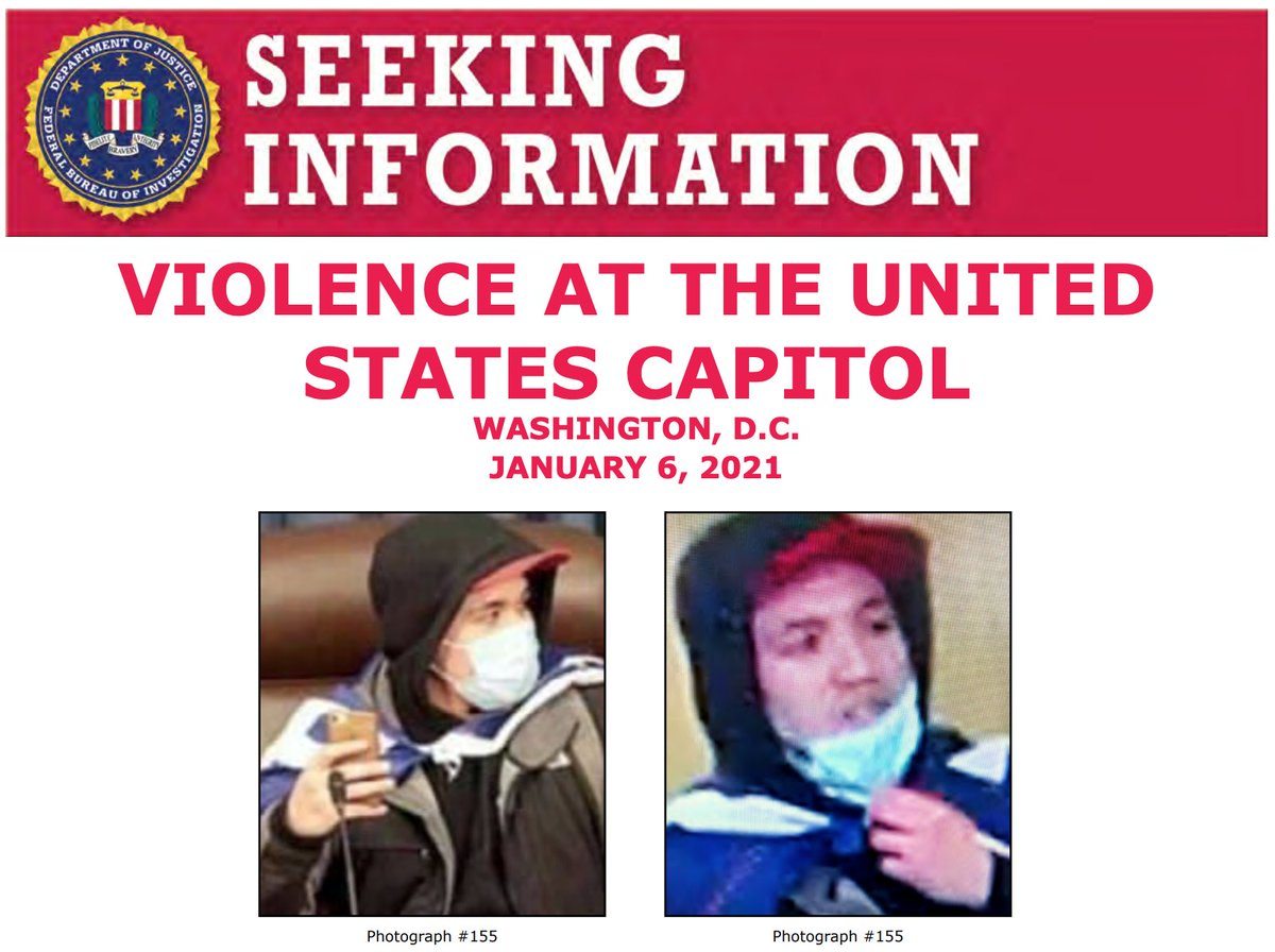 Help the #FBI identify this man who allegedly unlawfully entered the U.S. Capitol on January 6. If you have information, submit a tip to . When providing a tip on any of the below photos, please refer to photograph 155. @FBIWFO