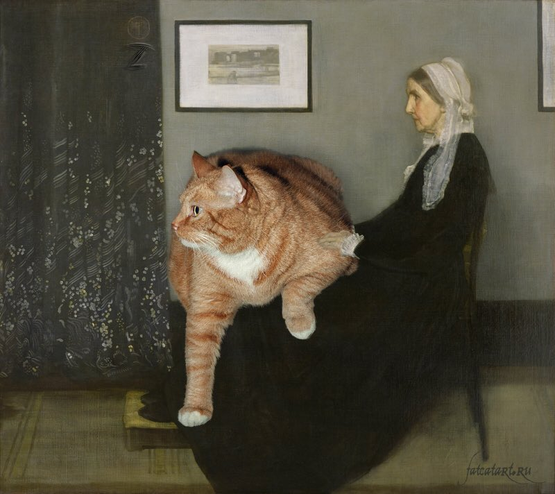 Russian artist Svetlana Petrova decided to add her big ginger cat to some iconic  portraits and masterpieces #womensart #Caturday