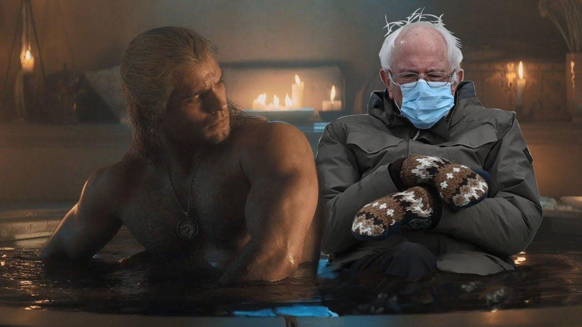 Geralt and the Senator. Bathtub Bernie The Witcher . . . #berniesmittens #thewitcher #witcher #geraltofrivia #geralt #berniesanders #berniememes #netflix #cdprojektred #witchermemes #henrycavill #witcher3 #berniesandersmemes