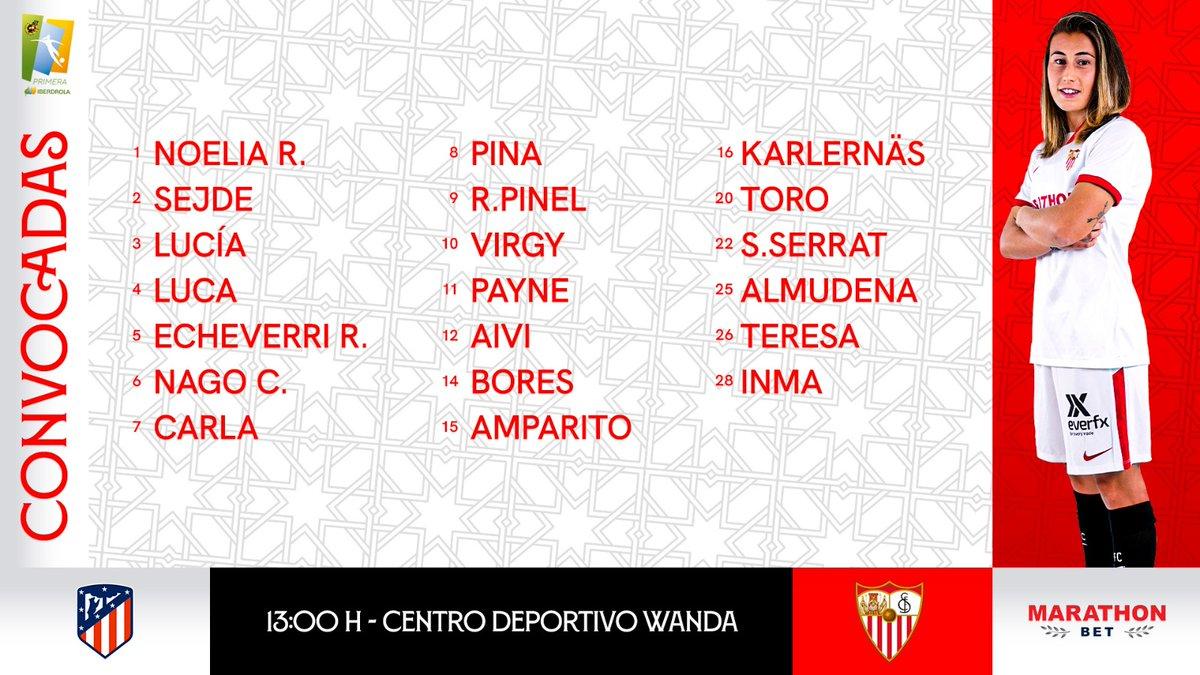 📋 𝗖𝗢𝗡𝗩𝗢𝗖𝗔𝗗𝗔𝗦 🙋♀️👌  20 futbolistas citadas por @CristianToroDT para el #AtlétiSevillaFC.  ⚽️⚪️🔴  ✍️ Regresa @almudenarivero9. 👏  ¡Con todo, #SevillaFCFem! 💪   #PrimeraIberdrola