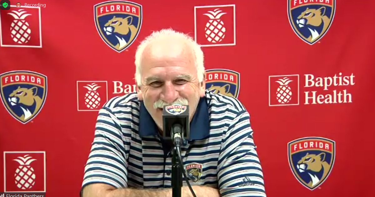 """Coach Q on today's #FlaPanthers scrimmage:  """"I think you could tell they're at a point where they want to play real games.... This little off and on here, it is what it is. Let's recapture some of that energy that we had in the Chicago series."""""""