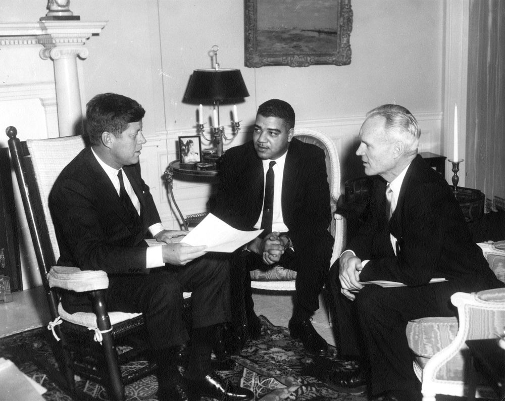 January 23, 1962, 5:00 pm  Meeting with members of the National Urban League, Whitney Young, Henry Steeger Sr., and Louis Martin. 📷:   #otd #tdih #JFKonThisDay