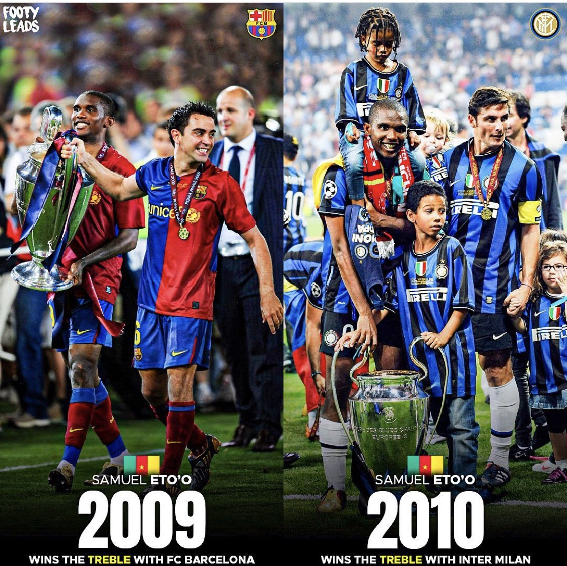Our ex striker @setoo9 is the only player that has one back to back trebles. Funny enough beating Chelsea in both seasons Champions League campaigns.