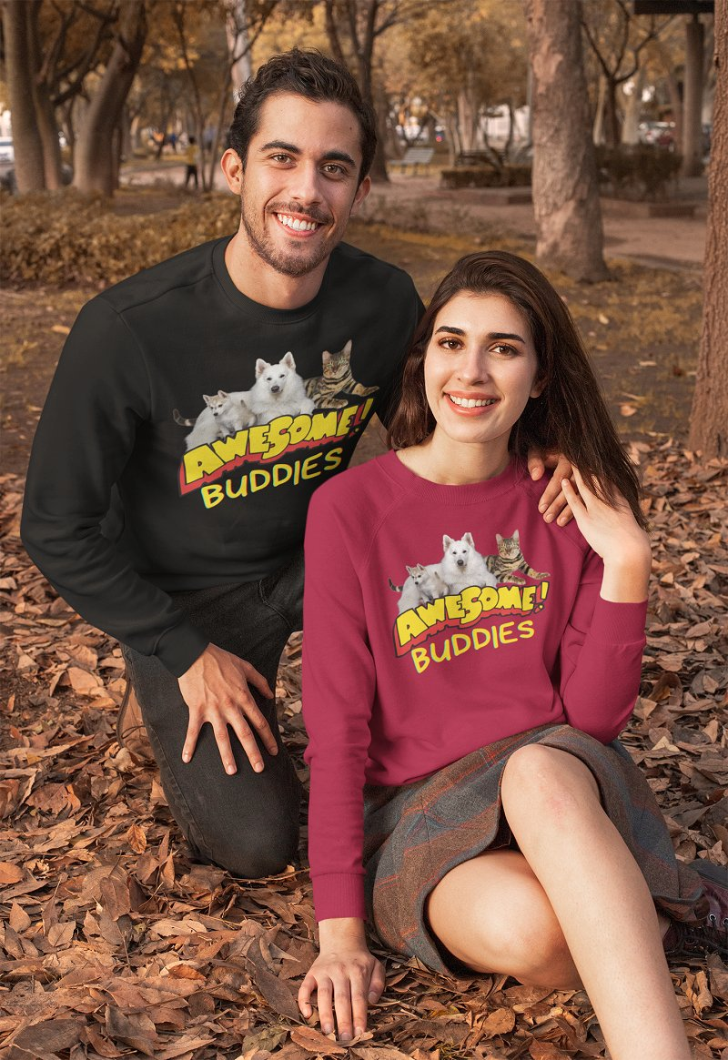 @H4NVGUE Awesome Buddies specially made to those Fur friends and lovers. Wear and be proud of your Awesome Buddies! UNISEX CLASSIC CREWNECK SWEATSHIRT   #wigglebuttzone #dog #cat #petlovers
