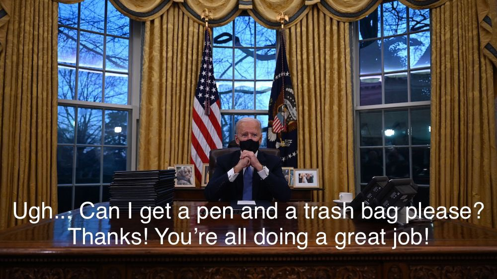 #TrumpsNoteToBidenSaid I want to play a game. In front of you there are 2 pens, one is empty, the other... mostly full. Both are covered in a crazy glue of my own design which won't wear off for like days. You have 1 hour to sign your first executive order. Time is ticking, Joe.