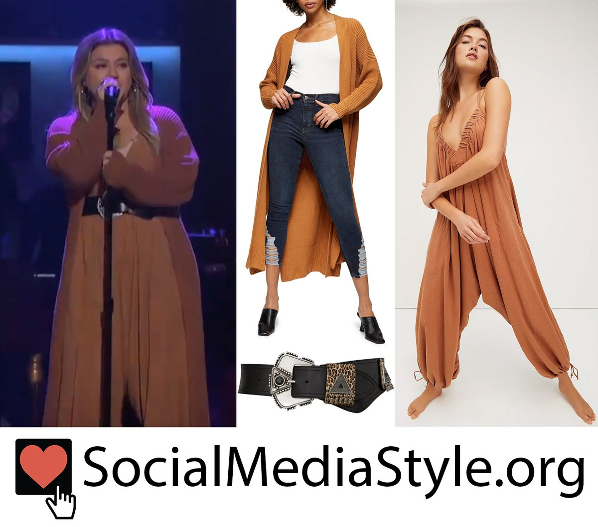 Buy @kellyclarkson's embellished belt and orange dropped crotch jumpsuit and long cardigan here:  #KellyClarkson #belt #droppedcrotch #dropcrotch #jumpsuit #longcardigan #dustercardigan #KellyClarksonShow #SaintLaurent #ysl #FreePeople #Topshop