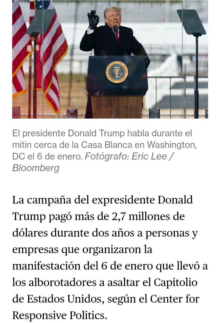 @meap1 @YouTube Donald Trump pagó más de 2,7 millones de dólares a personas y empresas que organizaron las manifestaciones y el asalto al CAPITOLIO. vía : @business #Bloomberg   #LarryKing #TrumpNoteToBiden #TrumpNoteToBidenSaid #Trump