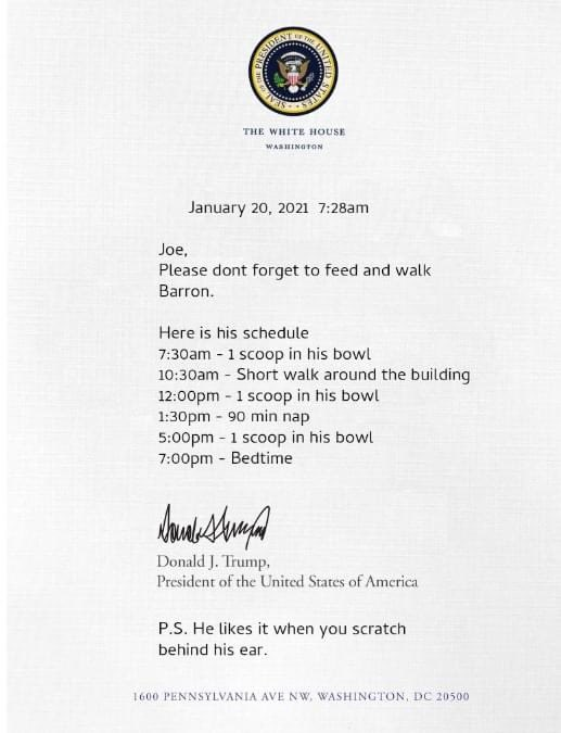 This letter leaked 2 days ago, I dunno why you're all speculating.  #TrumpsNoteToBidenSaid