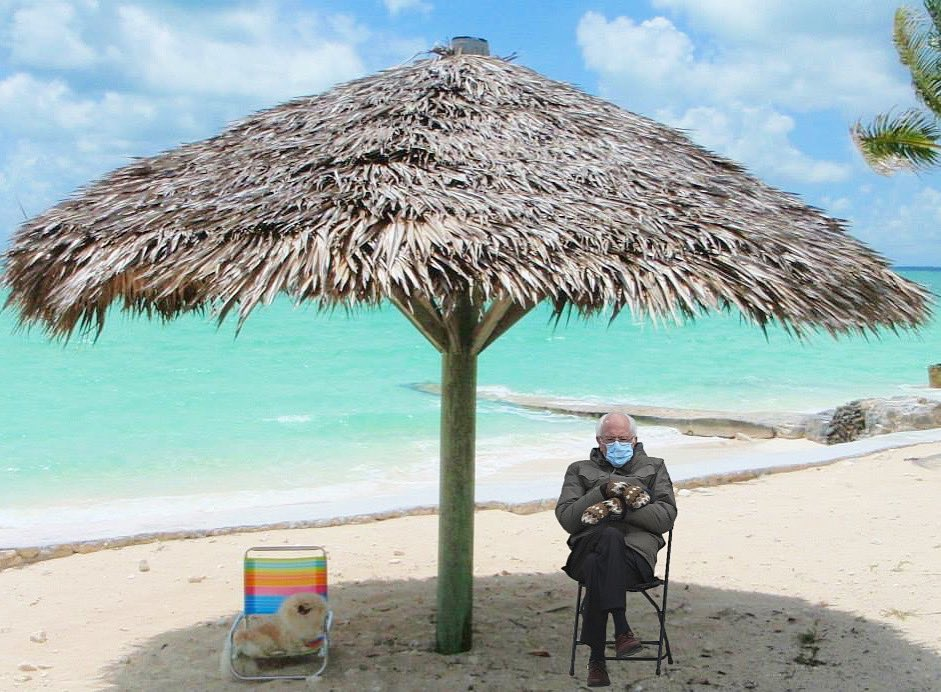 Had to do it! Uncle Bernie take it off feel de burn 🌞 #relax Dares alwayz dat one dat sits in de shade 🌴 Beach time wif #Bernie 😎  #overdressed #berniememes  . . . #berniesanders #unclebernie #berniesandersmeme  #BernieSandersmemes #BernieSits #berniememes2021 #caligurl