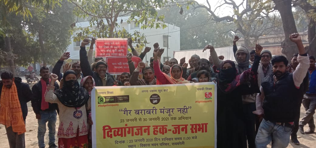 Fighting the #InequalityVirus step by step!  Rashtriya Viklang Mahasabha joined Global Protest to #FightInequality.  City Magistrate Yograj Singh recd a charter from a delegation of #PeopleWithDisabilities at a public event. The event was held with @FightInequality in #raebareli.