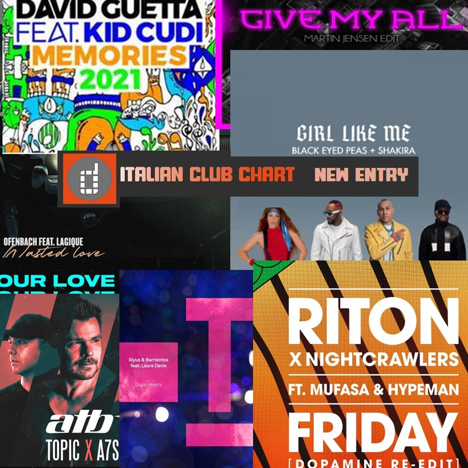 Online the new #ItalianClubChart on  with new entry for #DavidGuetta Feat. #KidCudi with #Memories2021, #Atb X #Topic&A7s, #BlackEyesPeas & #Shakira, #Illyus&Barrientos, #Ofenbach, #Riton X #Nightcrawlers Feat. #Mufasa & #TheHypeman, #GabryPonte. #clubchart