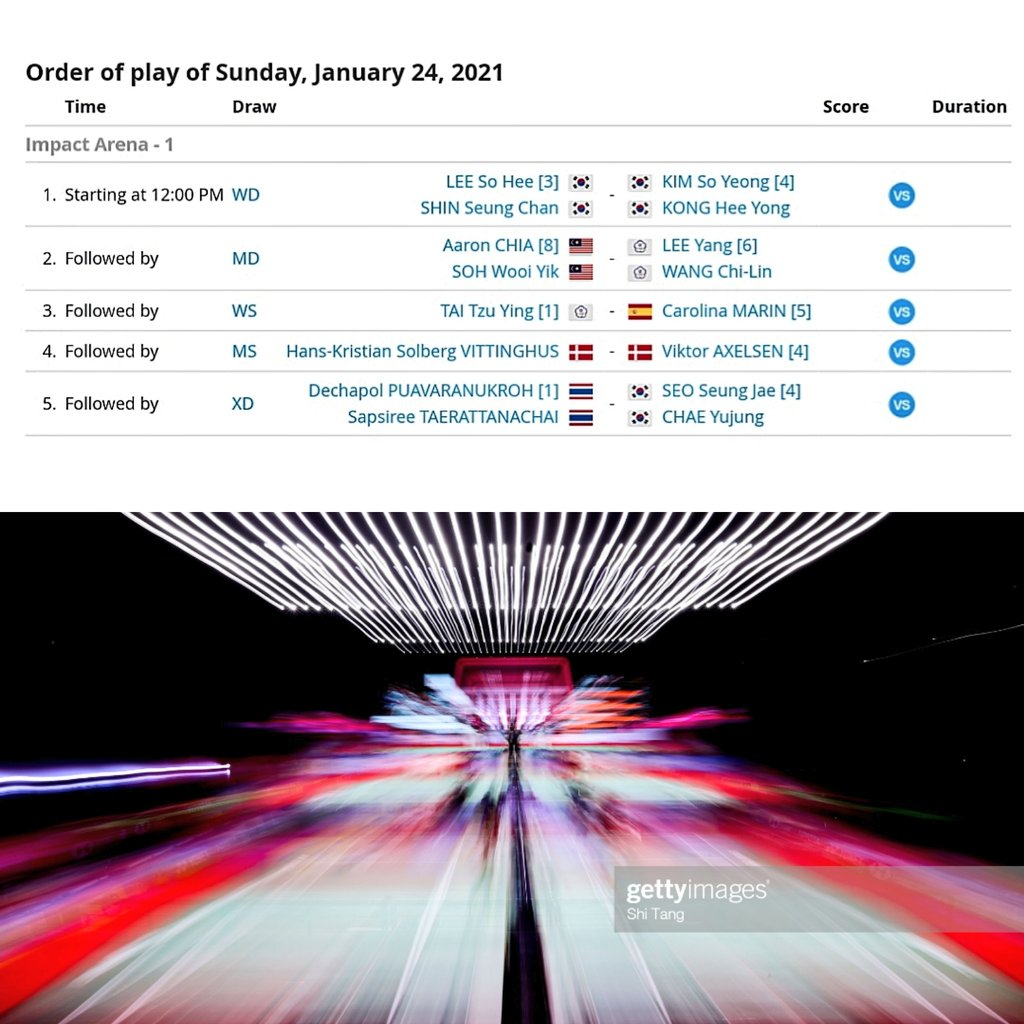 #ToyotaThailandOpen  #ToyotaThailandOpen2021  Order of Play, FINAL Minggu, 24 Januari 2021 Mulai Pukul 12:00 WIB  📺TVRI Nasional & TVRI Sport HD  💻Channel BWF TV on youtube (VPN) https://t.co/D4XHOoTMcO