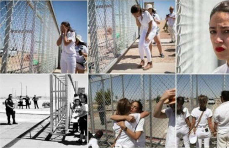 Just a reminder. @AOC staged a photo shoot and pretended to cry over kids in cages, except there were no kids, only an empty parking lot. She is a fraud.  #TrumpsNoteToBidenSaid