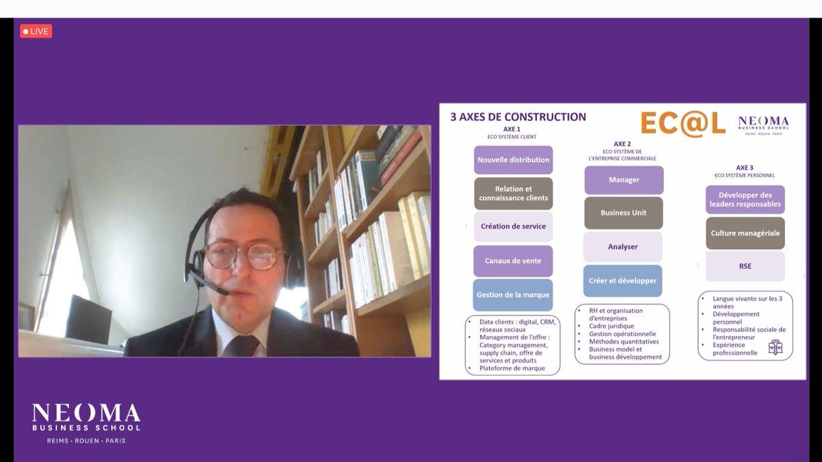 """#NEOMALive   """"Au sein du BMS, la spécialisation EC@L (métiers de la distribution) est une formation très complète autour de 3 axes : le client, l'entreprise et enfin les compétences personnelles."""" - @n_godey https://t.co/ZadksdH52f"""