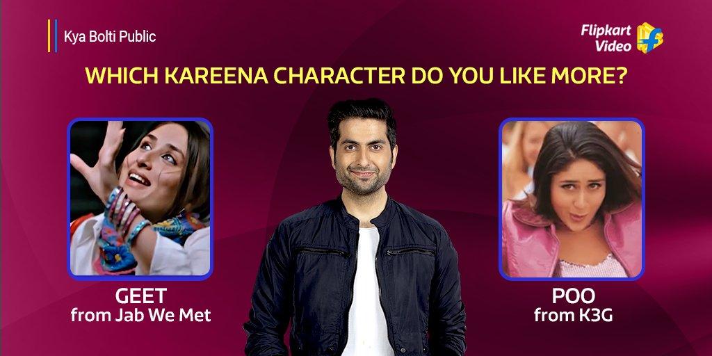 We toh like ALL of #KareenaKapoorKhan characters. Woh toh apni favourite hai!  @dheerajjuneja1 #Bebo #Geet #Poo #KareenaKapoor #JabWeMet #kabhikhushikabhigham #KyaBoltiPublic #DheerajJuneja #GameShow #Season3 #Rewards #Contest #FlipkartVideo #FlipkartShow #Movies