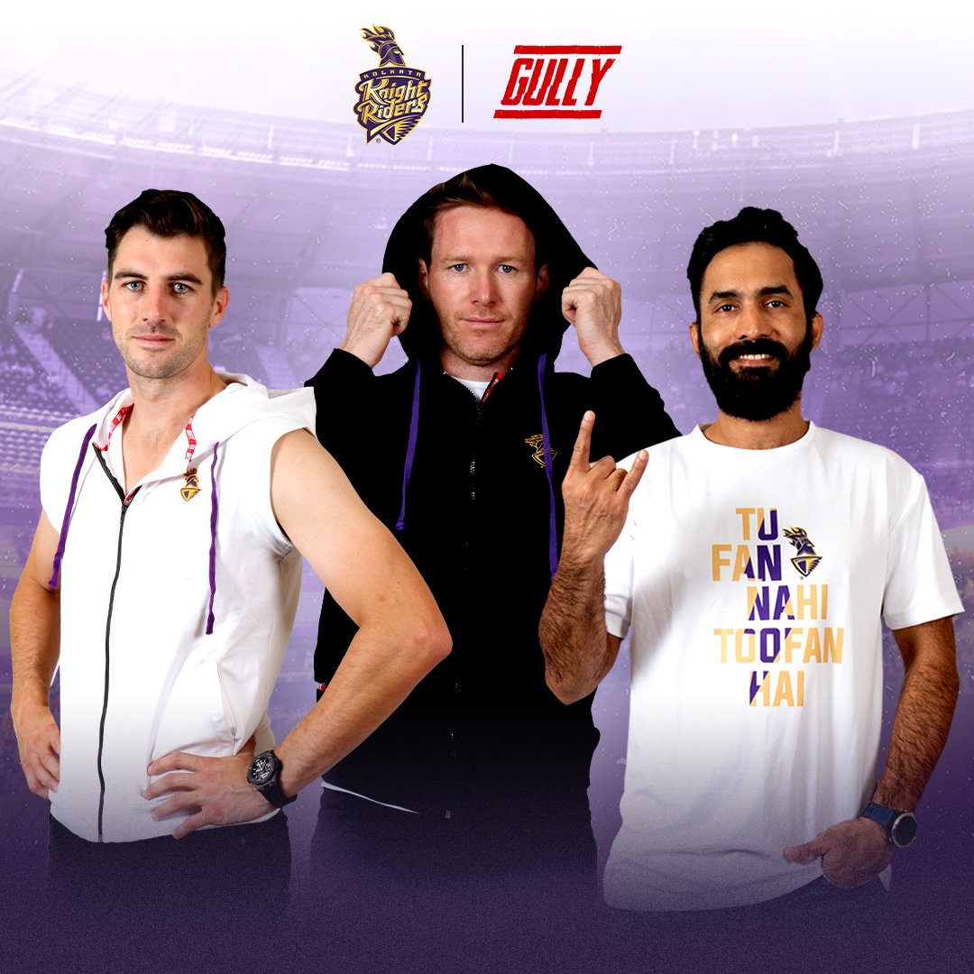 📸 yourself in @GullyLiveFast outfits, send them to us on social@kkr.in or tag us using #KKR and stand a chance to be featured on our page 🥳  @patcummins30 @Eoin16 @DineshKarthik