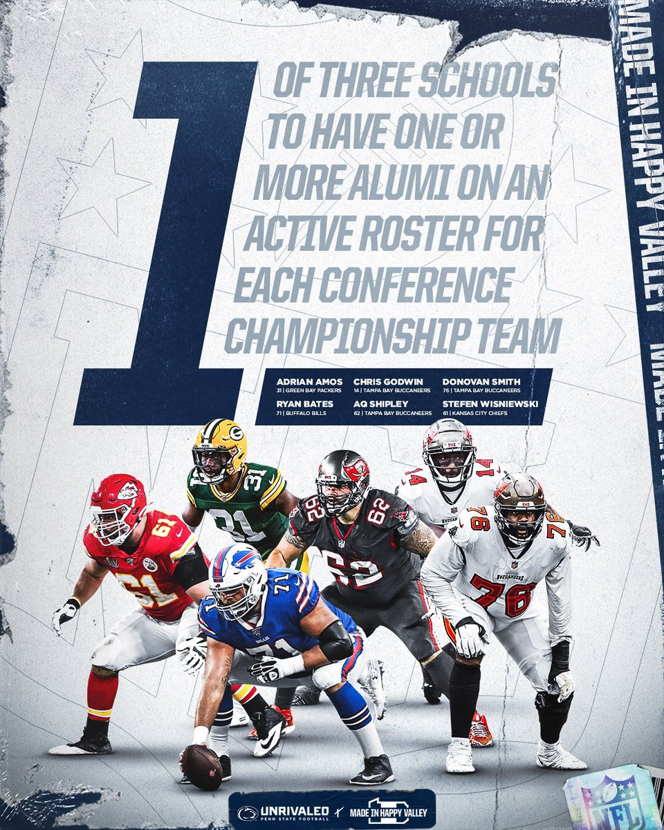 Penn State is one of just three schools in the country to have one or more player(s) on each of the four teams playing in the #NFL Conference Championship Games tomorrow.  #MadeInHappyValley #WeAre