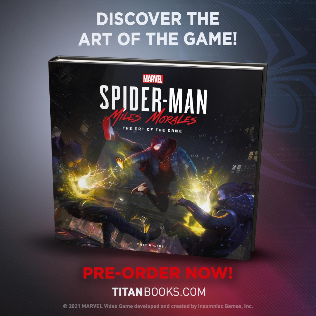 """Explore the creative process in """"Marvel's Spider-Man: Miles Morales – The Art of the Game"""" from @TitanBooks, featuring characters, locations, gadgets, and more with unique insights from the game's artists and developers. Order here:  #BeYourself #BeGreater"""