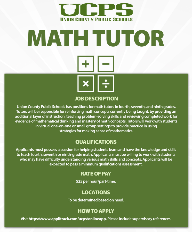 Want to be a math tutor for us? Know someone? We are looking for people available 8a-1:30p M-F. Like & Share Apply via this link:  and reach out to Mr. Vaughn directly: terry.vaughn@ucps.k12.nc.us #KESKnights #ItTakesAVillage #TeamUCPS @AGHoulihan @UCPSNC