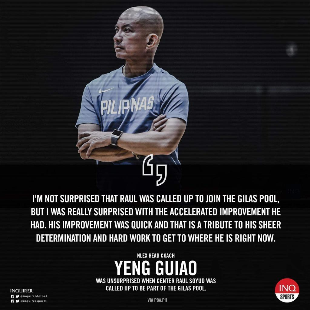"""""""His rugged, physical play against opponents bigger than him will be valuable for Gilas, and he can hit the outside shot,"""" said coach Yeng Guiao. """"He can make those shots when you leave him open."""""""
