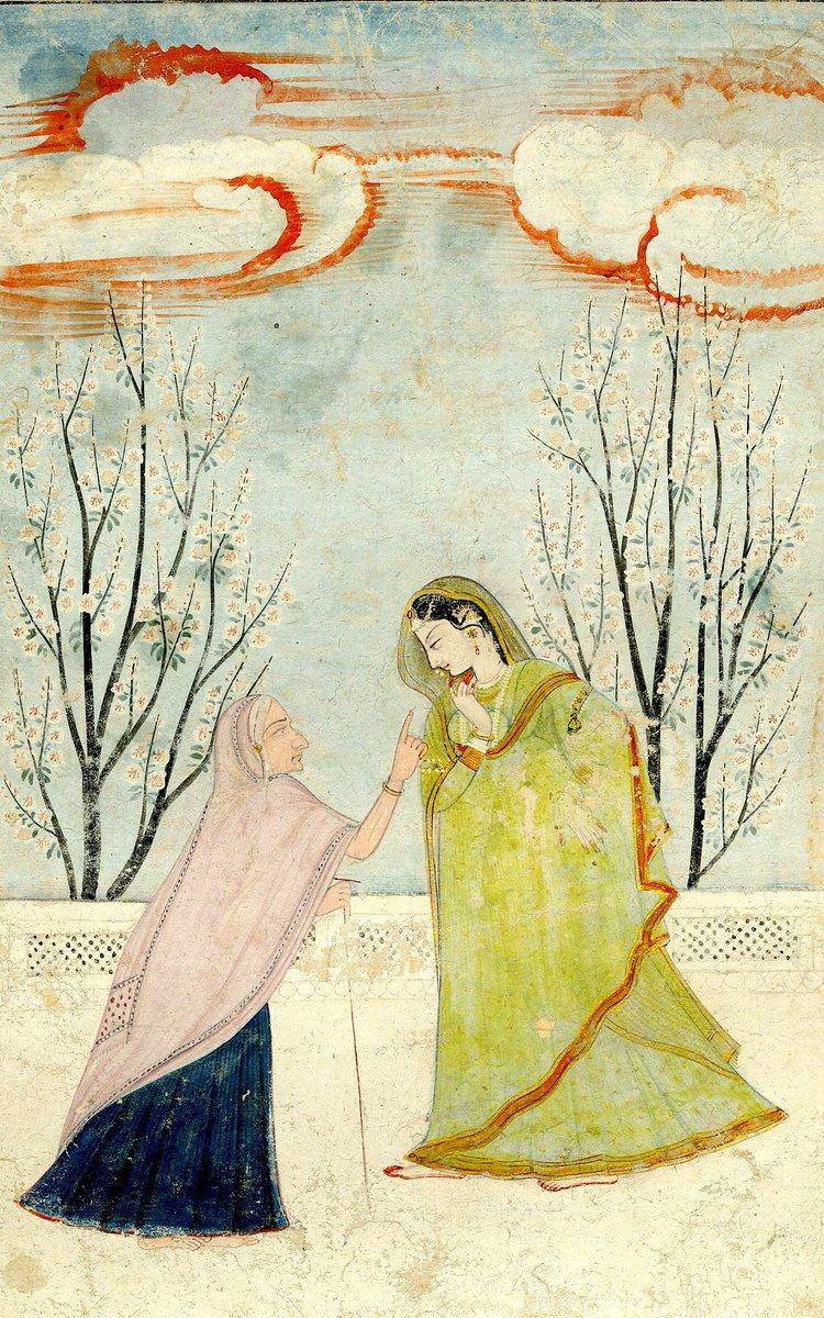 Seemingly in a hurry, a lady with a go-between on a terrace, ca. 1800, Kangra,Punjab Hills. @britishmuseum @DalrympleWill @errfanseye @Jibunnessa @katherineschof8 @zarafshan @ranjona @ghosh_gopali @swativashishtha @hemantsarin @RaiSwatiRai @ssharadmohhan #art #culture #History