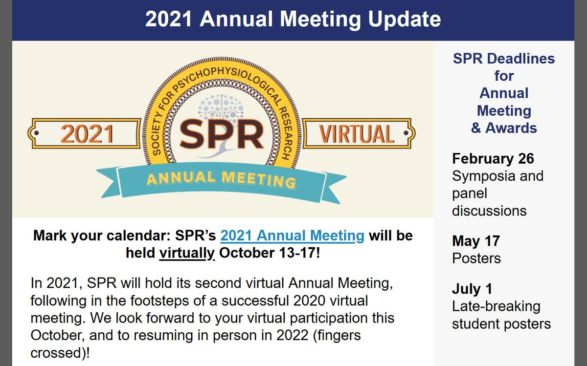 RT @TheRealSPR Important announcement of @TheRealSPR: Our conference this year will take place virtually October 13-17 #SPR2021