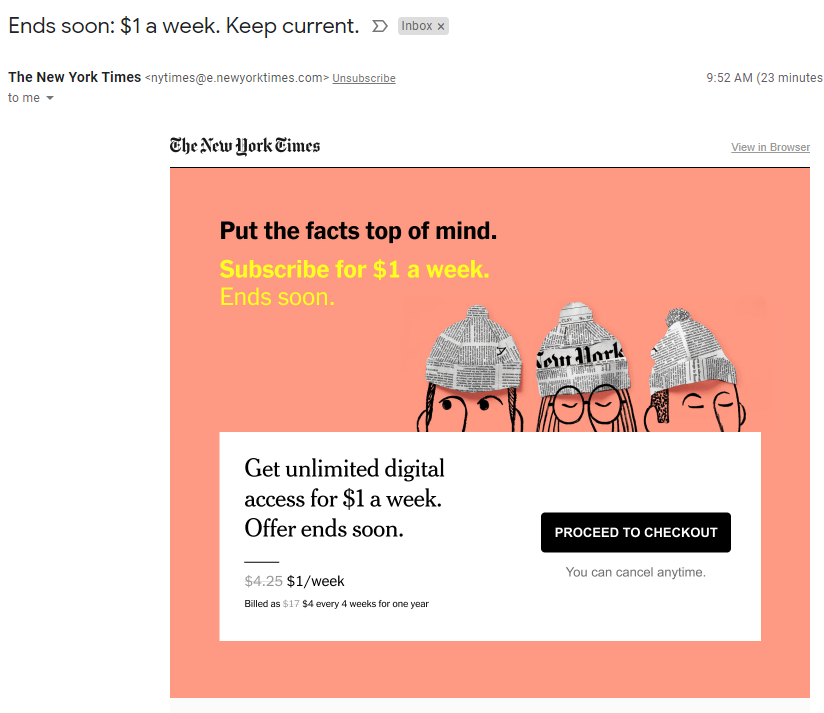 I dunno, @nytimes.  That's $1 I could spend on something else.  Like a Peladon bike.  Or a Rolex.  Gonna have to pass.