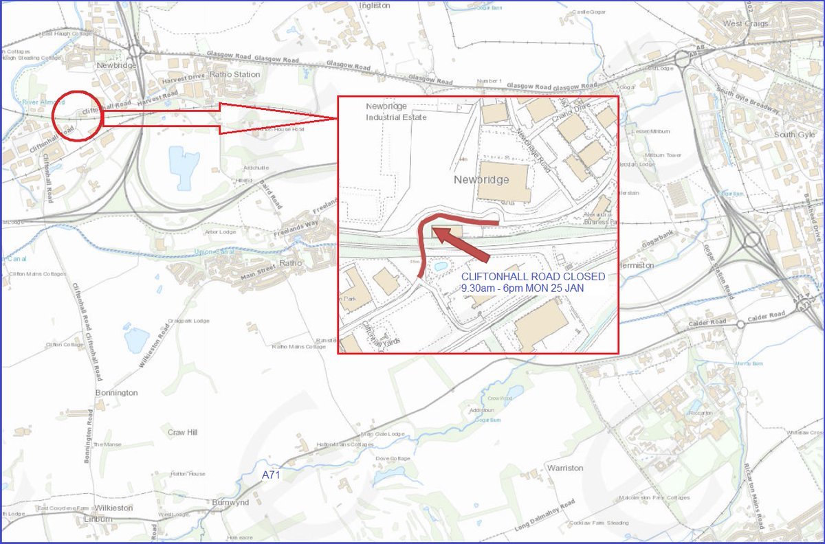 test Twitter Media - ⚠️  Cliftonhall Road  To allow for manhole repairs, Cliftonhall Road will be ⛔ closed ⛔ between Tesla and DPD, 9.30am - 6pm on Mon 25 Jan.  General traffic diverted via Wilkieston Road - Main Street - Baird Road - Harvest Road.  HGVs please use A71 - A720 - A8.  #edintravel https://t.co/dTuzzgy3Mp