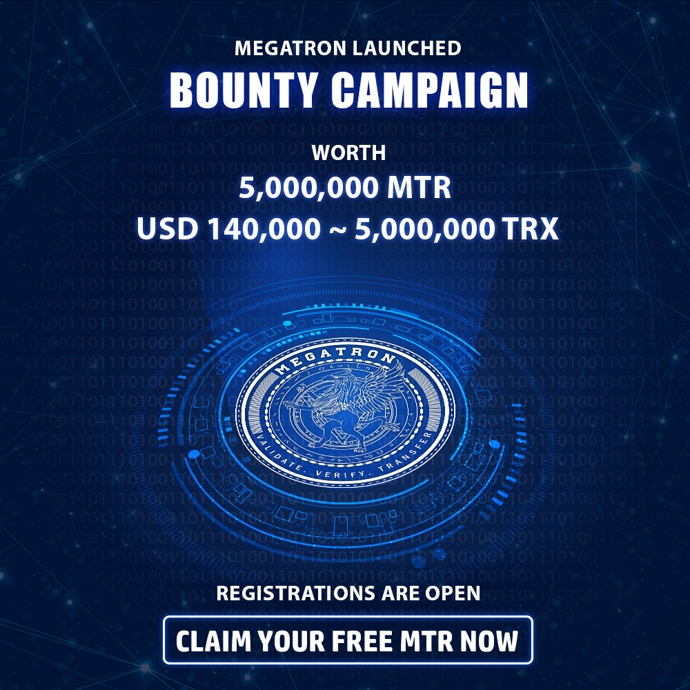 The most awaited bounty campaign is live on BitcoinTalk!  MegaTron launched bounty campaign worth 5,000,000 MTR ~ 140,000 USD ~ 5,000,000 TRX  Claim your free MTR now!  Bounty Link -    #Megatron #blockchain #cryptocurrency #technology #bitcoin #money