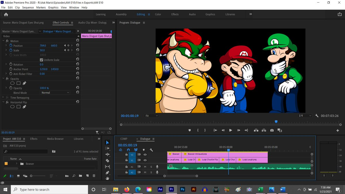 Happy Saturday everyone! Until the art is ready for ep 9, I'm editing ep 10 of #AskMario this weekend! What are your weekend plans?  #Mario #Luigi #Bowser #Adobe #adobepremierepro #PremierePro #Photoshop #AdobePhotoshop #Videoediting #Nintendo #SuperMario3DWorld #BowsersFury