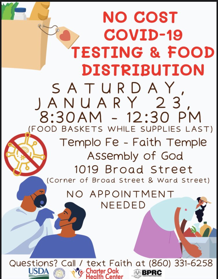#COVID Testing and Food Distribution at Templo Fe. Come #GetTested & #GetFood @USDA @HartfordHealth @Hfdhealthus @211CT @HHSGov @MinorityHealth @CT_Ministers @PhillipsHealth @unitedwayinc