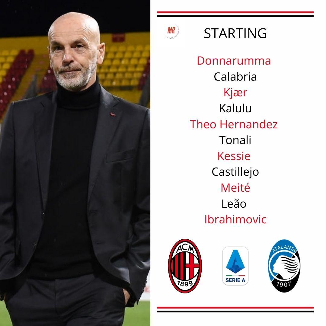 📋 Official lineup AC Milan vs Atalanta
