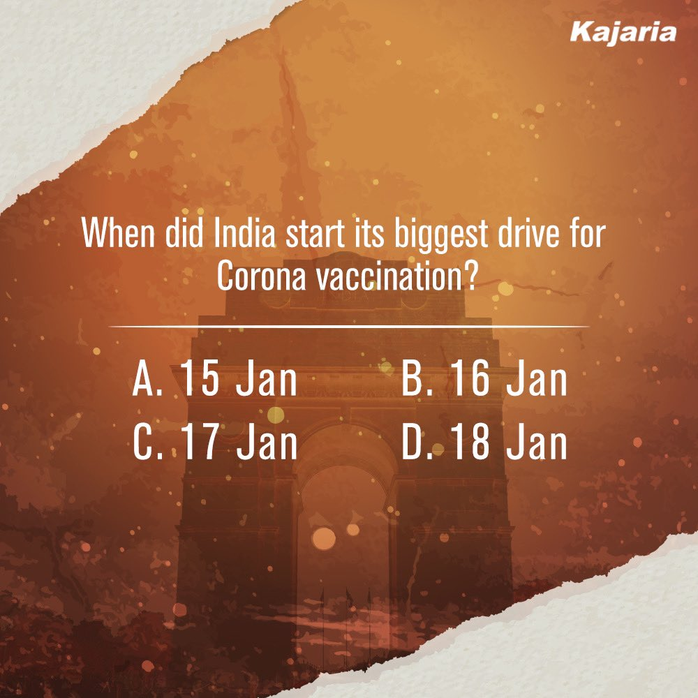 Here's the first question of our #RepublicDay quiz. Guess the correct answer in the comments below and stay tuned for more questions.     #SpiritOfIndia #Kajaria #KajariaCeramics