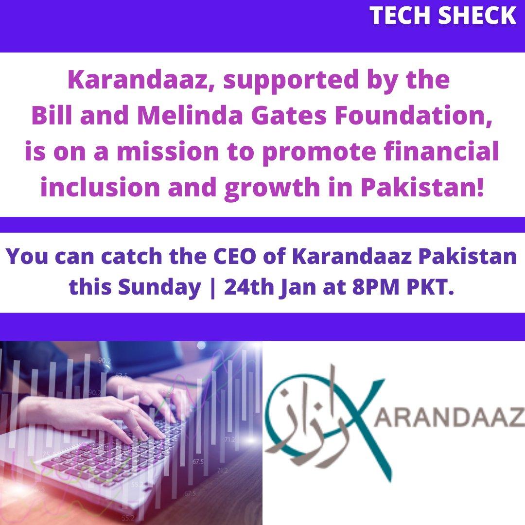 We've got a really cool guest this Sunday. The CEO of @KarandaazPK  is here!   #karandaaz #techsheck #pakistan #karachi #islamabad #lahore #finances  #financialliteracy #financialinclusion #inclusion #womenempowerment #business #startup #economicdevelopment #Tech #techstartup