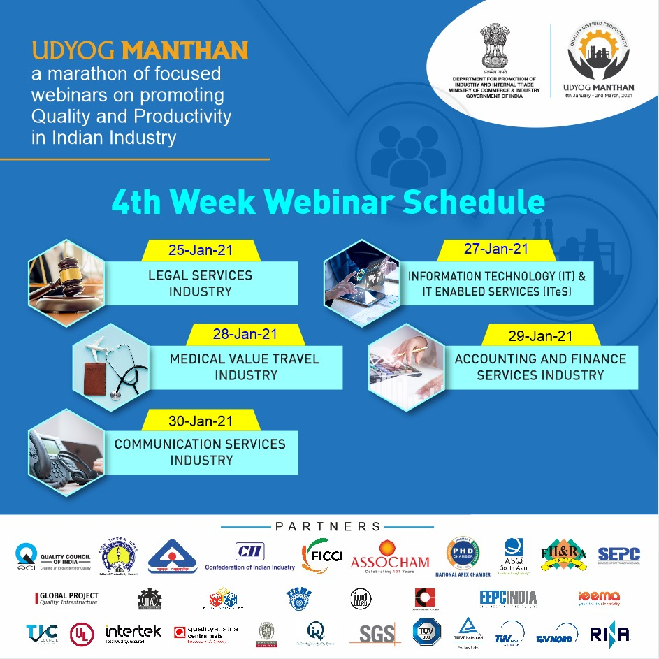 #UdyogManthan   Block your calendar for the 4th week's webinar schedule focused on service industry. Hear from experts on how to improve #Quality & #Productivity in your industry.  Register Now:    #AatmaNirbharBharat #Services