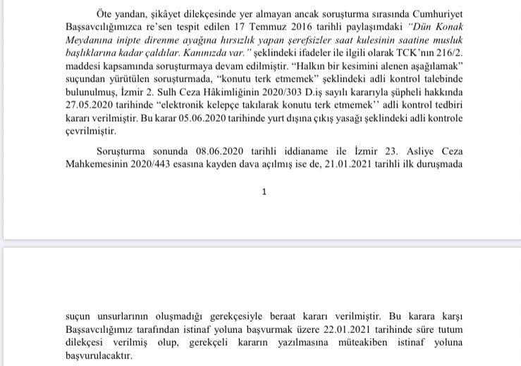 İzmir Cumhuriyet Başsavcılığı; Dila Koyurga'nın beraat kararının istinafa götürüleceğini açıkladı https://t.co/tJyieofpcc https://t.co/0dTnthZEwP https://t.co/ubcMrPHy1U