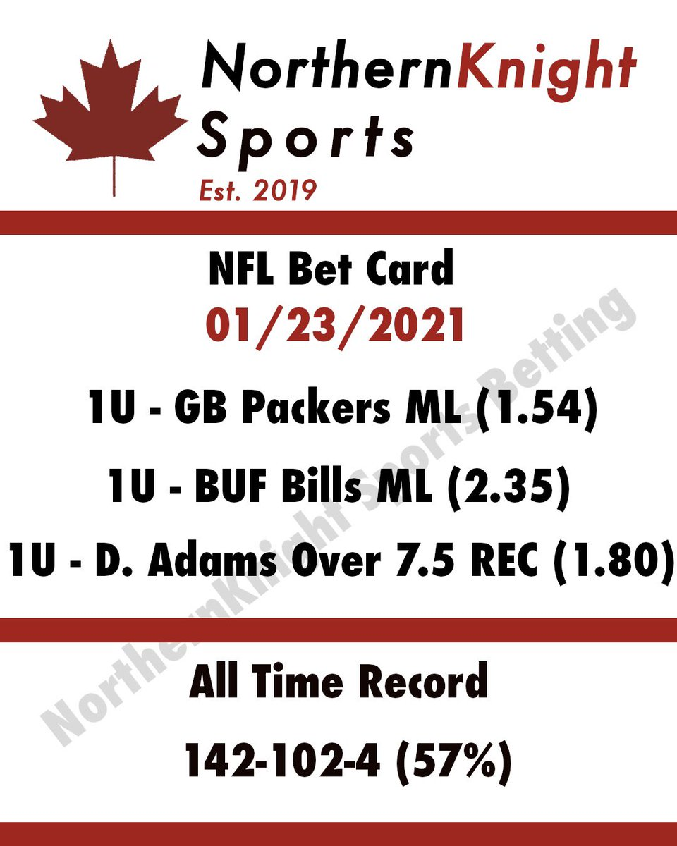 #NFL #Conference #Championship games are here! We're rolling with the #Packers #Bills and D. Adam's over 7.5 #receptions   Good luck to everyone this weekend! #GoPackGo #GoBills #BillsMafia #GreenBay #Buffalo #Adams #SportsBetting #betting #gambling #sportsgambling #sports