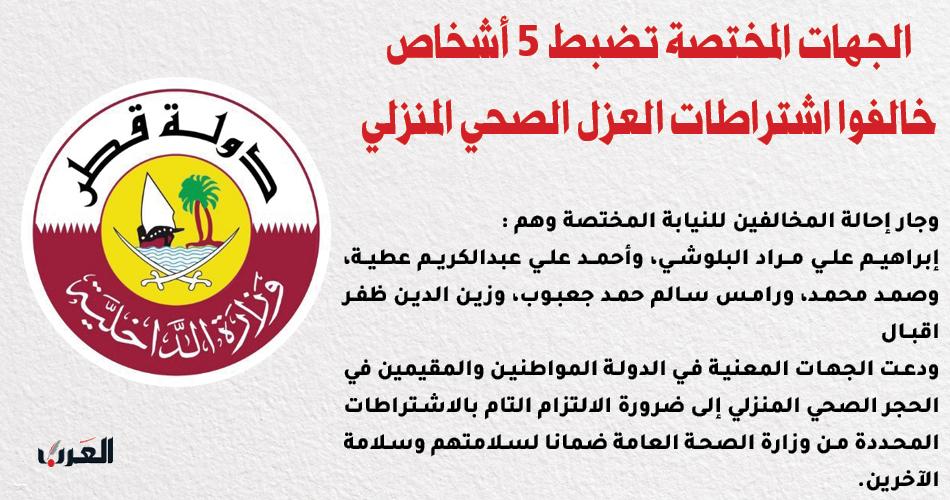 الجهات المختصة تضبط 5 أشخاص خالفوا اشتراطات العزل الصحي المنزلي  #قطر | #جريدة_العرب