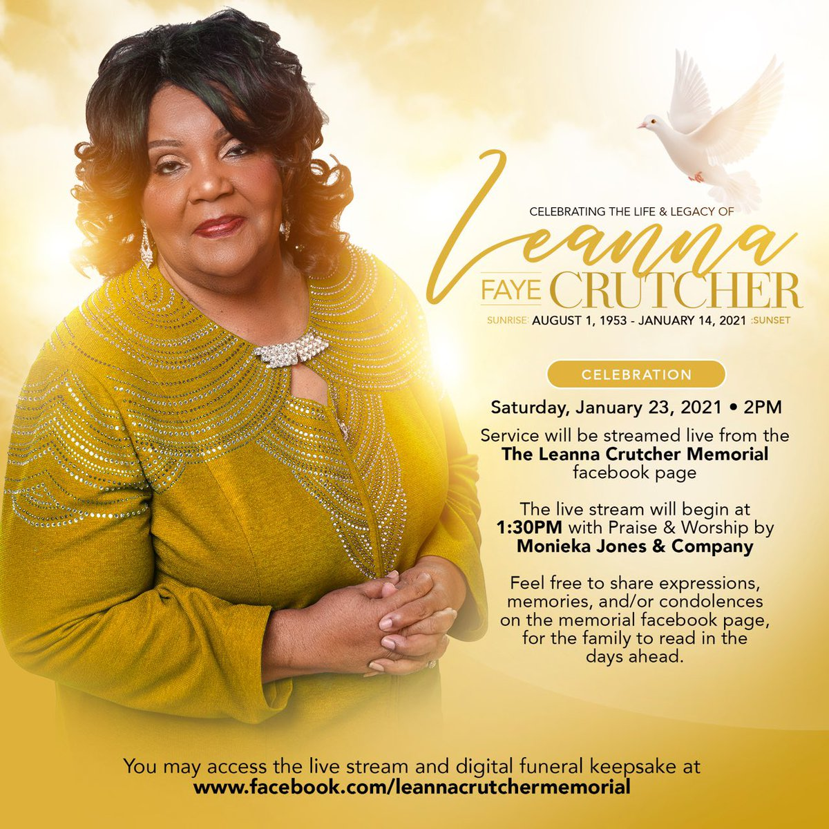 """Leanna Faye Crutcher (""""Ma Crutcher"""") was an extraordinary woman, mother, grandmother, wife, leader. A true """"Mother of the Movement."""" Her search for justice for her son #TerenceCrutcher and for Black ppl in Tulsa is a powerful inspiration for all who do this work."""