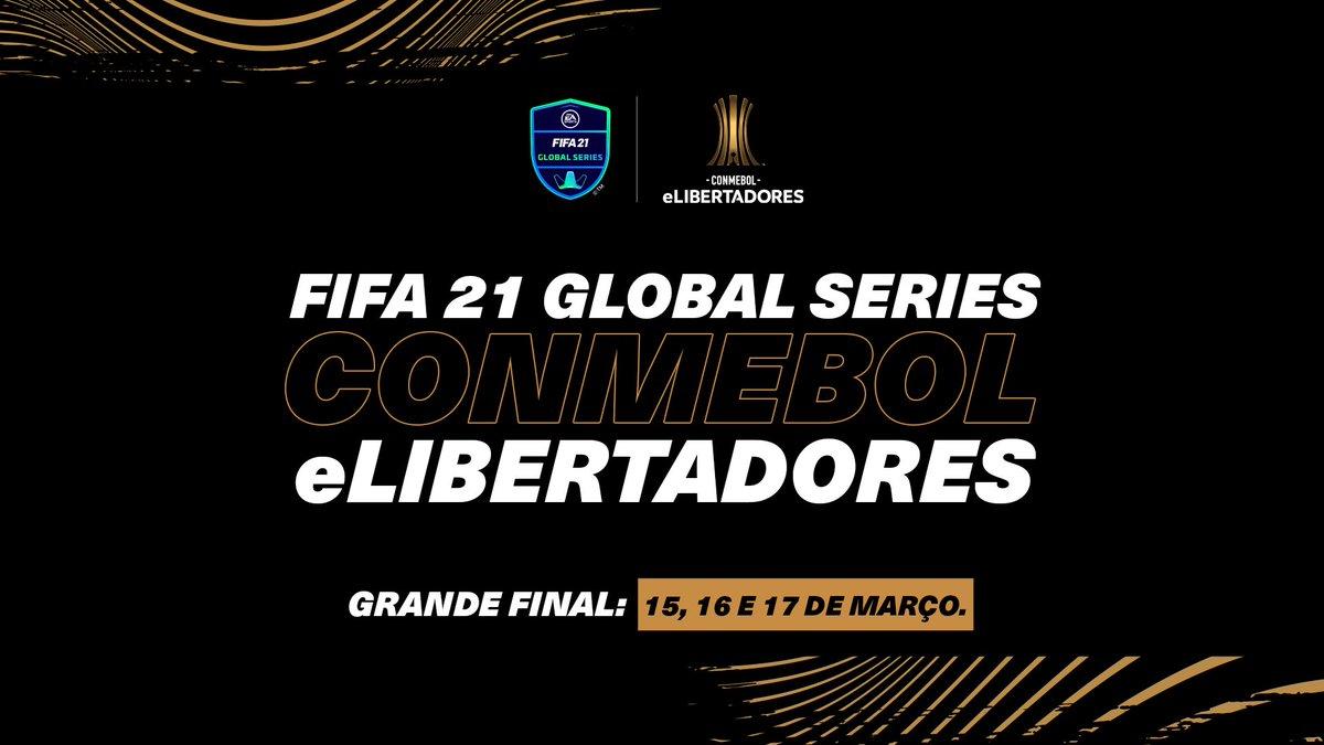 Na próxima semana teremos a final da CONMEBOL @LibertadoresBR! 🟢⚪⚫⚪  E em março? As finais da #eLibertadores #FIFA21! #FGS 👀