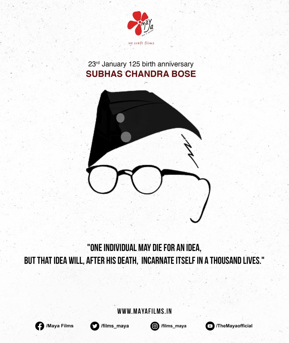 Remembering Netaji Subhas Chandra Bose on his birth anniversary. The struggle,Sacrifice and dedication of Netaji is an inspiration to all of us. Jai Hind !!  #mayafilms #films #series #netaji #subhashchandrabose #production #youtube #socailmedia #workisworship #creativity