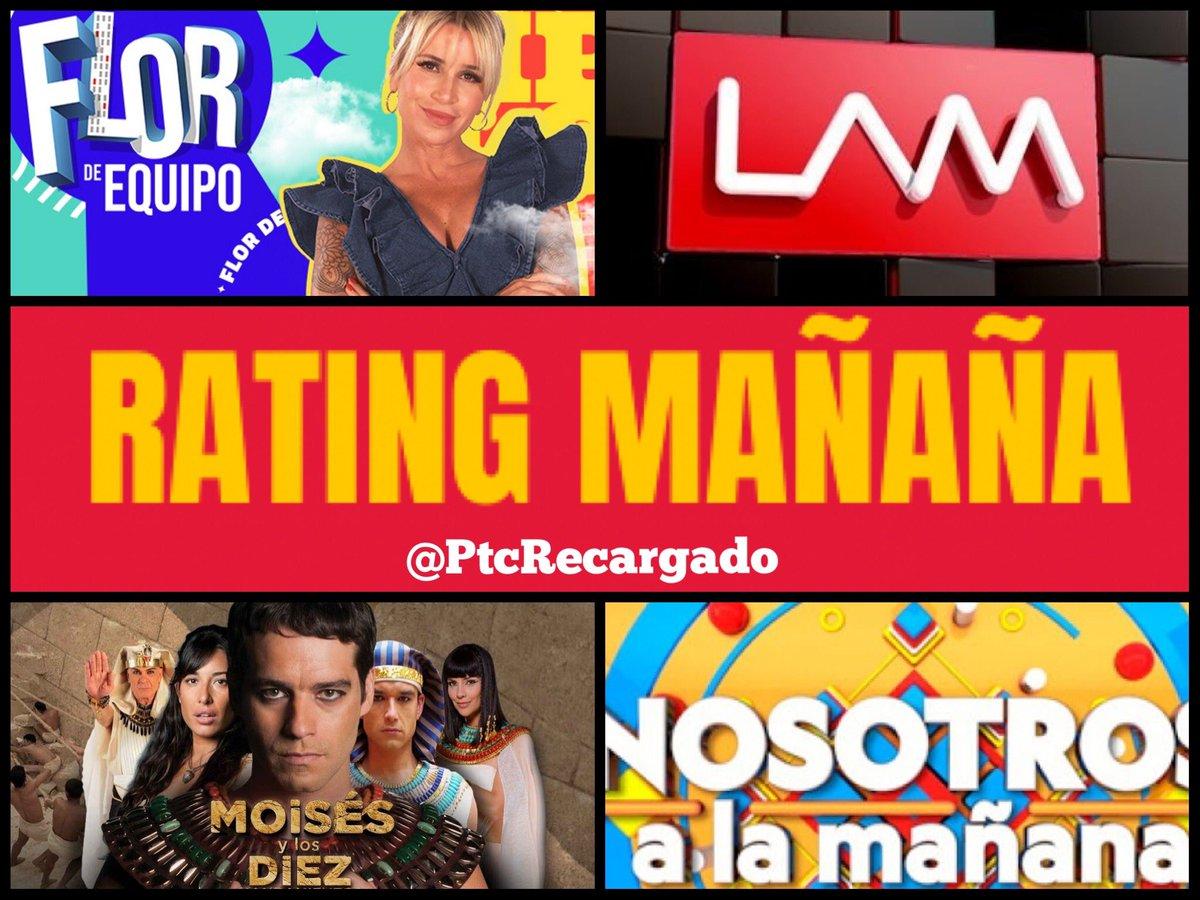 #Rating 📊 Viernes  Los 5 más vistos de la Mañana  #FlorDeEquipo 🌺6.0 #Moises ⚱️5.6 #Lam 👼 4.9 #NosotrosALaMañana 💥3.1 #AlasRotas 👳♀️3.0