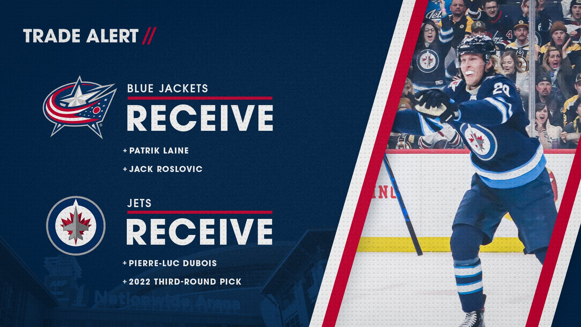 """Columbus Blue Jackets on Twitter: """"IT'S OFFICIAL! All-Star Patrik Laine and  Columbus' own Jack Roslovic are coming to town! See how the full trade  shakes up ⬇️… https://t.co/Qc7gGCeod6"""""""
