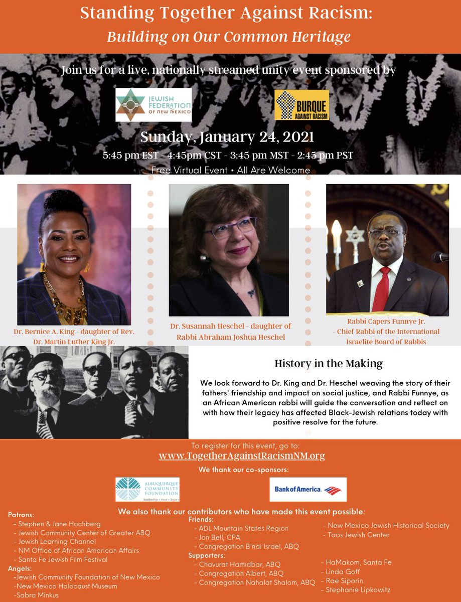 REGISTER TODAY. The courageous conversations + strategy + work must continue.  Join us TOMORROW at 5:45pm ET for the virtual event, *Standing Together Against Racism: Building on Our Common Heritage*  Register for free here:   #BelovedCommunity #BeLove #MLK
